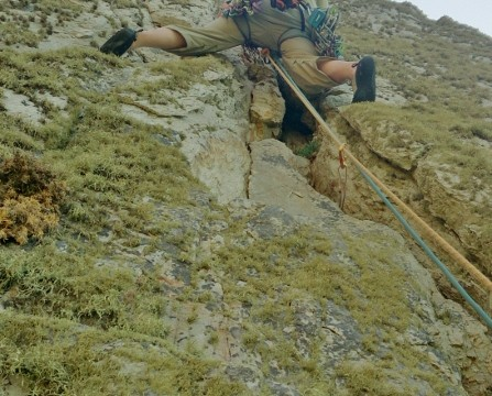 Gogarth sea cliffs the top pitch with the crack crux