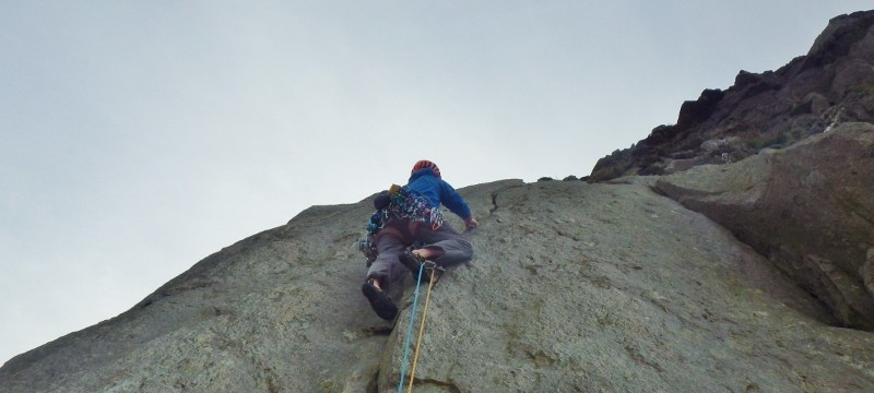Just moving pass the crux on the finger crack
