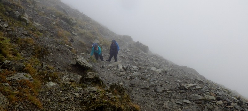 On Snowdon at the top of the Watkins path where it gets very loose