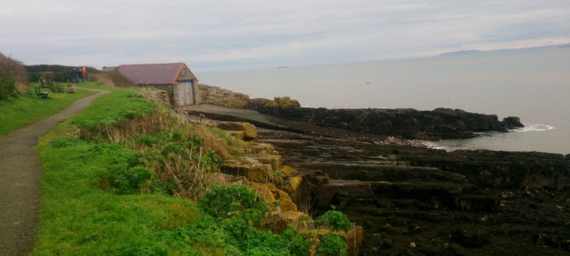 leaving Moelfre and passing the old boathouse