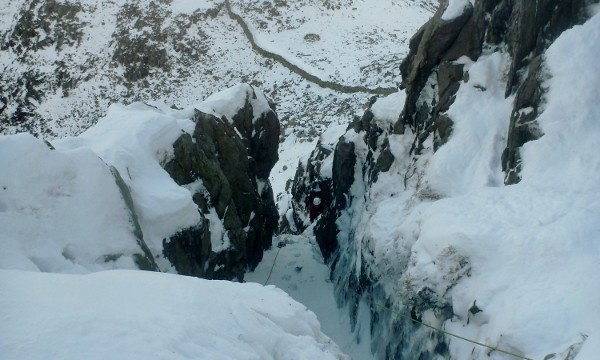 The final steep section of Sinister Gully