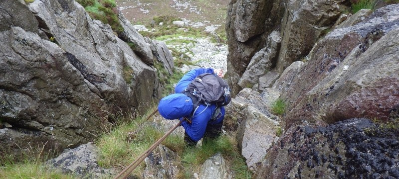 Practicing abseiling down Nor Nor groove