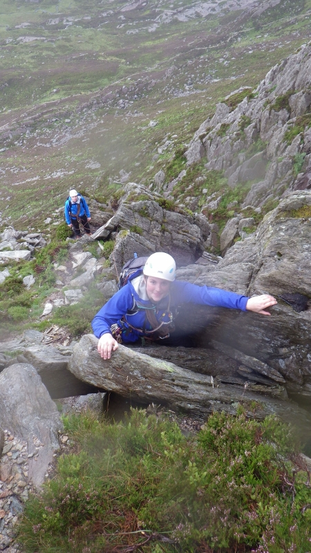 Rock scrambling  in Snowdonia. Leading a rock scramble on  Bastow Buttress variant