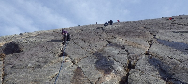 Multi pitch rock climbing in Snowdonia