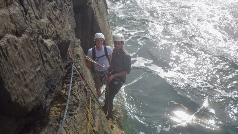 Rock climbing at Castell Helen first pitch of Lighthouse Arête