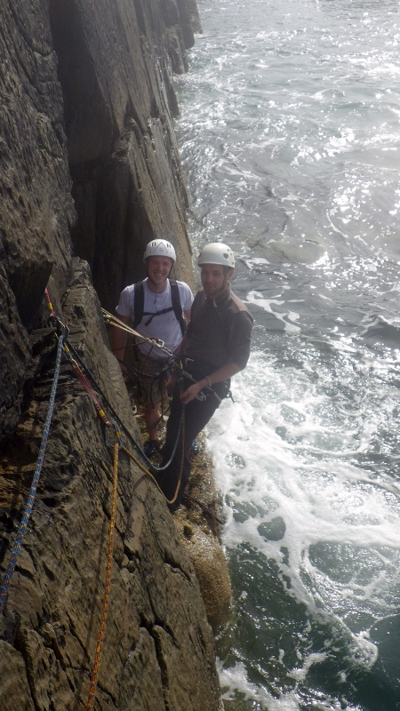 Rock climbing at Castell Helen first pitch of Lighthouse Arete