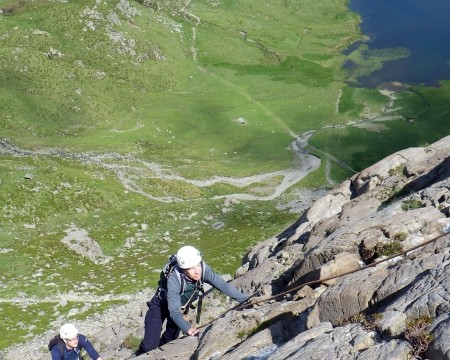 Rock scrambling in Idwal Valley Snowdonia
