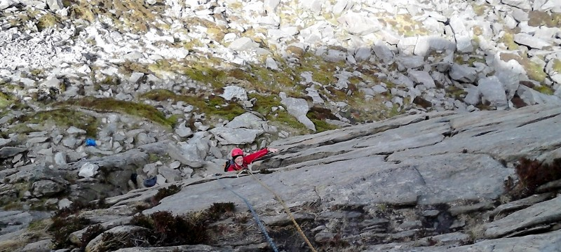 Rock Climbing on Multi pitch in Snowdonia. Direct route Milestone buttress
