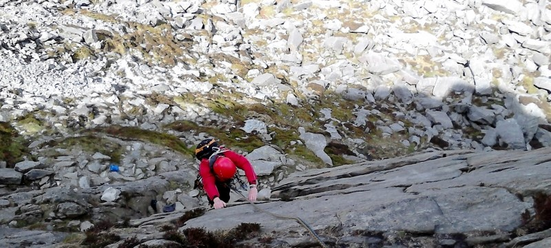 Rock Climbing on Multi pitch in Snowdonia. Direct route Milestone buttress Super direct