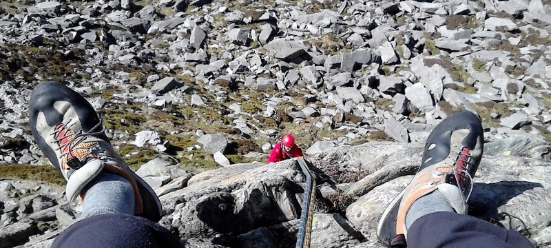 Rock Climbing on Multi pitch in Snowdonia. Direct route Milestone buttress Super direct second pitch
