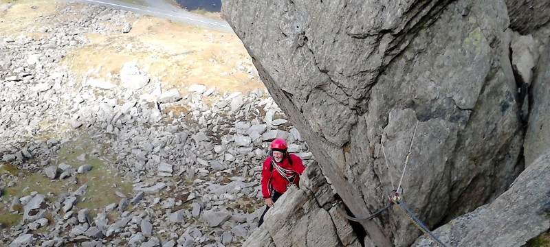 Rock Climbing on Multi pitch in Snowdonia. Direct route Milestone buttress second pitch
