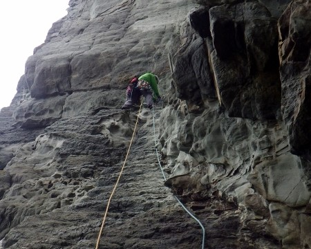 Multi pitch rock climbing in Snowdonia.