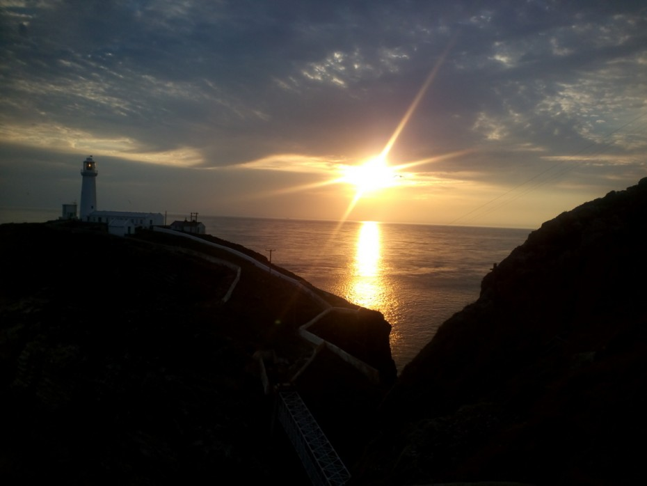 Walking on the Anglesey coastal path The beautiful sunset at South Stack