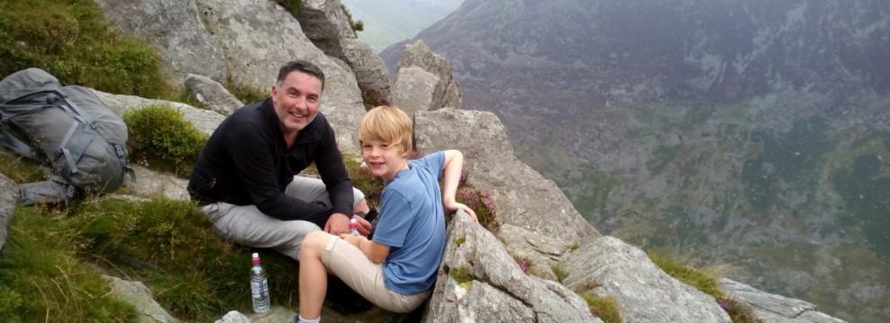 Walking in Snowdonia. Robert and Ellis on the North ridge of Tryfan