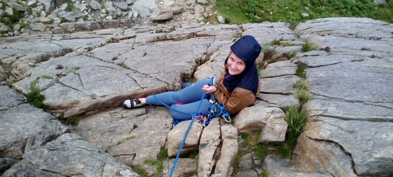 Multi pitch rock climbing Feeling relaxed on Rock leading