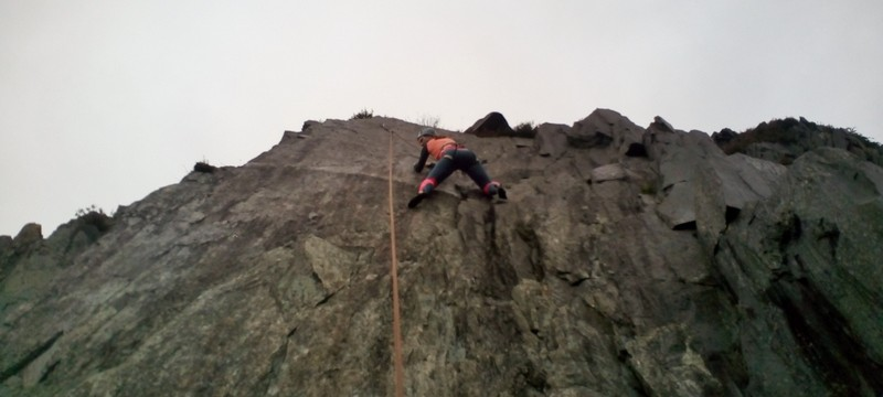 Nearing the crux on Jagged face at Bus Stop Quarry