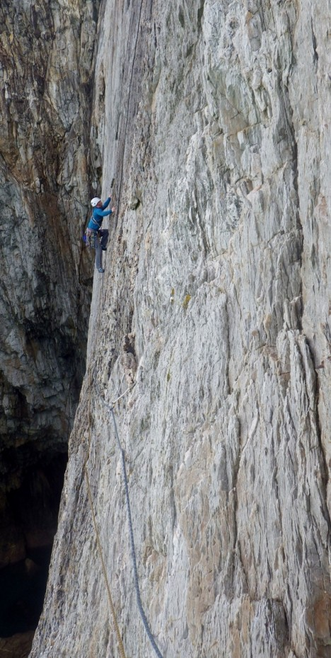 Mike climbing across the great slab