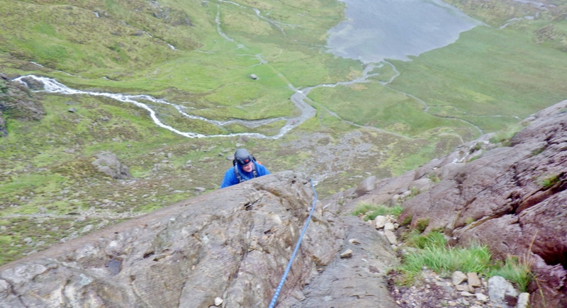 Kevin practicing rope techniques on grade 3 ground