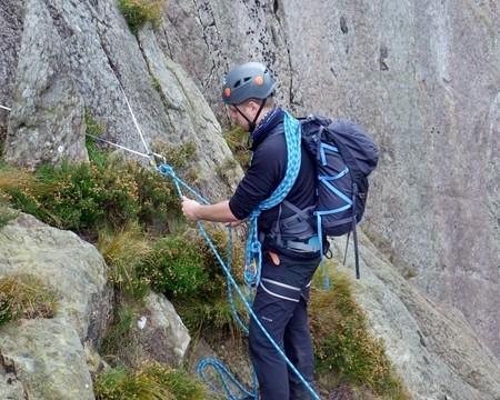 Here Sam is using a sling to take a direct belay off a rock spike