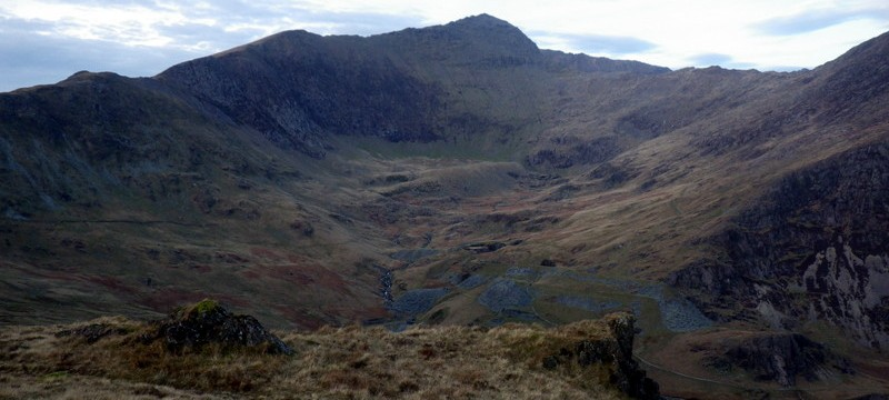 Walking in Snowdonia looking across to the Watkin path
