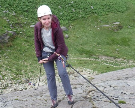 Trad rock climbing  with Mountaineering Joe abseiling off a route