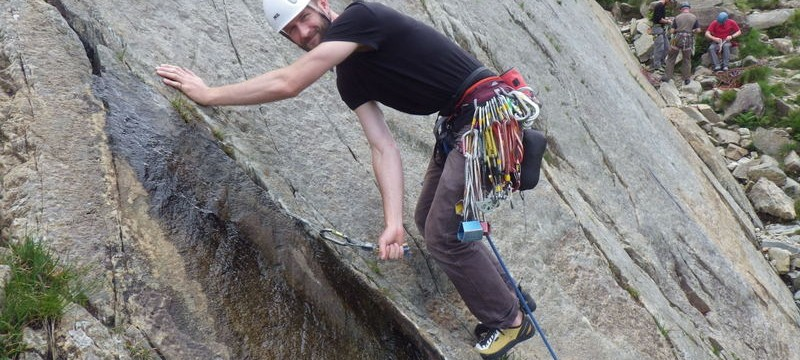 Trad rock climbing on your first route
