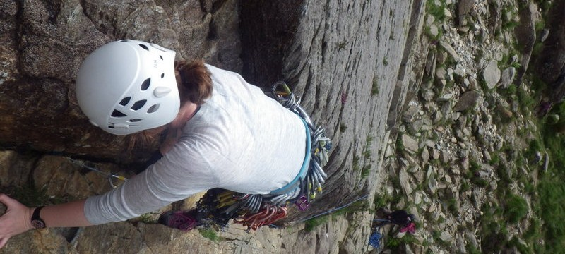 Trad rock climbing learning to lead