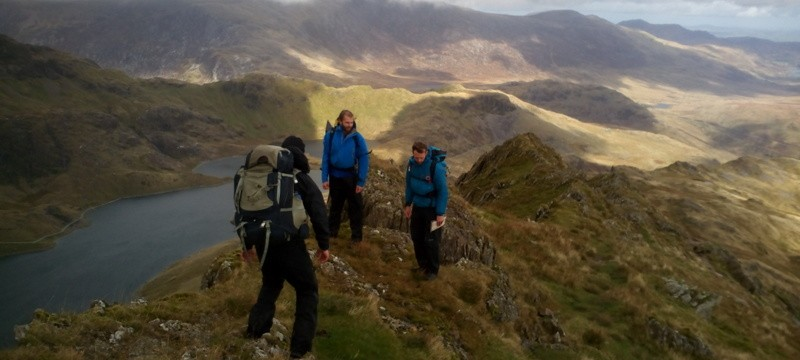 Mountain leader Assessment on Lliwedd during the multi day camp