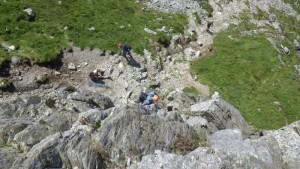 Rock Scrambling in North wales on grade 2 and 3 ground