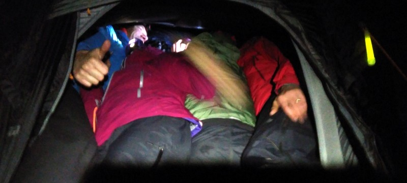 Warm and cosy with 6 people in a 2 man tent!