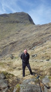 Edwin at the col on the Watkins path Snowdon