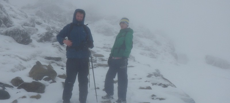 Winter walking in Snowdonia with Max and Andrew approaching the summit of Snowdon