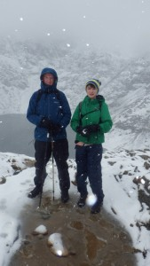 Winter walking in Snowdonia just below the zig zags with Glaslyn in the background..a great day out in Snowdonia