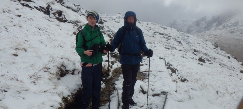 Winter walking on Snowdon with Max and Andrew
