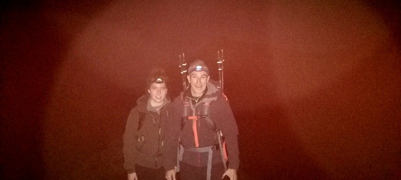 Welsh 3000s Adri and Tony Crib Goch in the dark