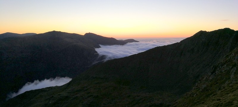 Welsh 3000s Cloud flowing down into the valleys first thing in the morning