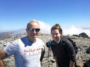 Welsh 3000s Tony and Adri on the summit of Glyder Fawr