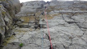 Rock climbing in Pembroke on the route called krispie crack VS 4c at Crickmail Point