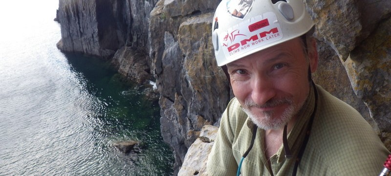 Rock climbing in Pembroke with some exciting positions to belay from