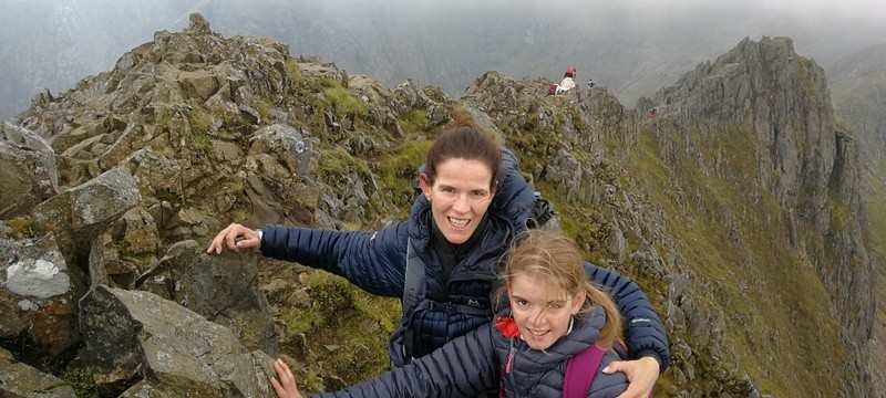 Katie and Jermima on Crib Goch having a whale of a time