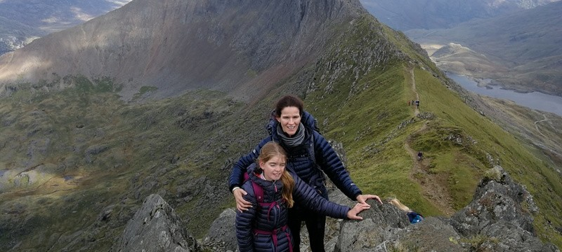 Katie and Jermima on Crib Goch hold on
