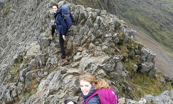 Katie and Jermima on Crib Goch on the narrow arete