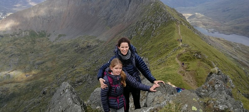Katie and Jermima on Crib Goch pass all the difficulties
