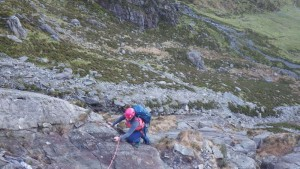 Rock scrambling in Snowdonia