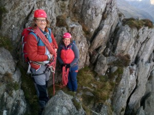 Rock scrambling in Snowdonia Katie and Bill on the North Ridge of Tryfan