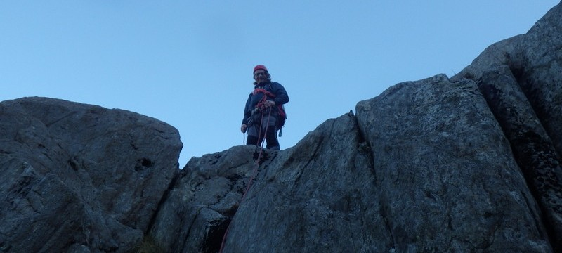 Rock scrambling in Snowdonia. Bill at the top of the grade 3 pitch