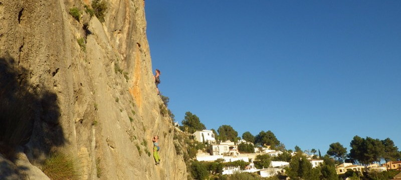 Rock Climbing on the Costa Blanca in The Xalo Valley Alicalali in the sun with Mountaineering Joe