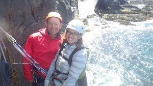 Brigid and Jamie getting ready to climb