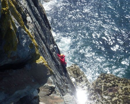 climbing on the South stack sea cliffs The feeling of being on sea cliffs is amazing. The rock has great friction.