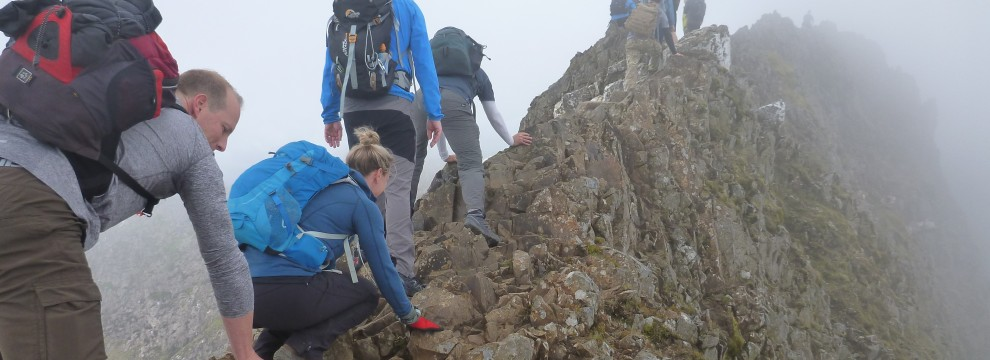 Welsh 3000s 14 peaks challenge gaining the main ridge on Crib Goch